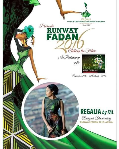 Regaliabyfal showcasing at Runway FADAN  Abuja 2016